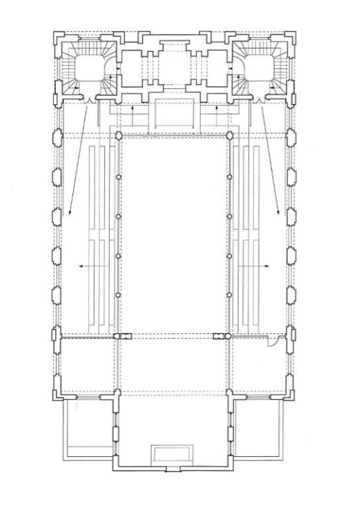 Floor plan of the belfry, where we will also be installing display tables